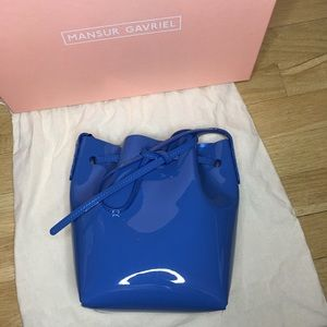 Mansur Gavriel Blue Mini Mini Patent Bucket Bag